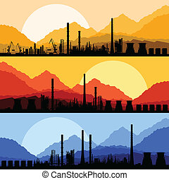 Industrial oil refinery factory landscape illustration...