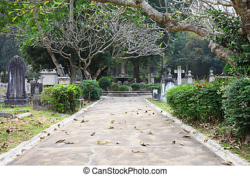 Cemetery park in Hong Kong, China