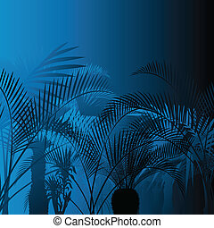Tropical leaf rain forest background in night vector