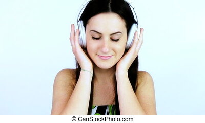 Woman relaxing listening music