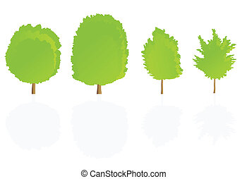 Trees detailed illustration collection background vector