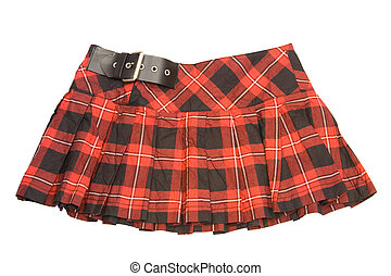 short skirt - red rumpled checkered short skirt