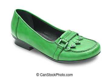 shoe - green woman shoe isolated on white