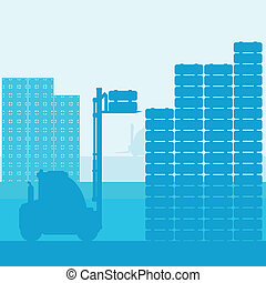 Fork lift truck with load vector background