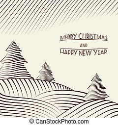 Engraving of Christmas trees on the hills. Vector...
