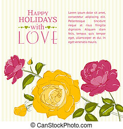 Invitation with roses - Invitation card with a roses Vector...