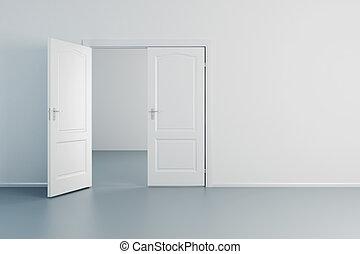 empty white room with opened door