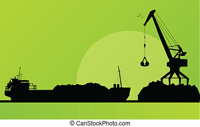 Freight ship in harbor, coal loading with crane vector...