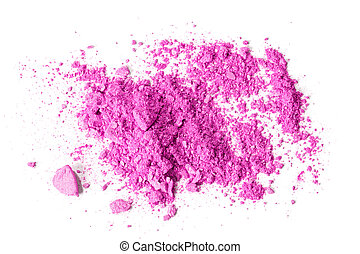 Pink crushed makeup - Crushed makeup on white background The...