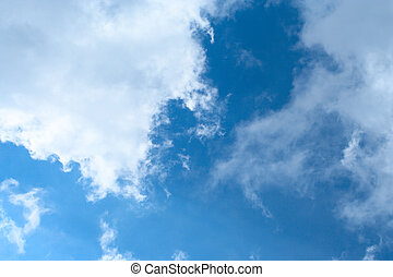 blue cloudy sky - blue spring sky with lot of white clouds