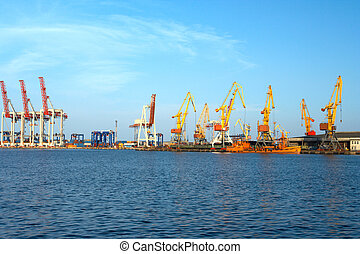 seaport with cranes and big ships