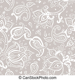 Seamless Paisley background Elegant Hand Drawn vector...