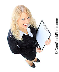 Top view of smiling business woman with clipboard