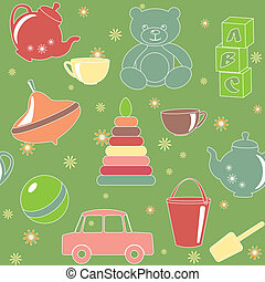 Green seamless pattern with toys