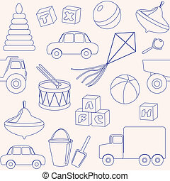 Seamless pattern with toys outlines