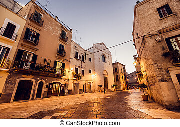 Streets of Bari town in Italy