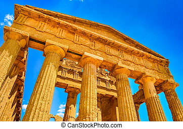 Ruins of ancient temple front pillars in Agrigento, Sicily,...