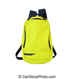 Yellow-green backpack isolated with path - A high-resolution...
