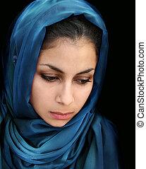 árabe, niña, azul, bufanda