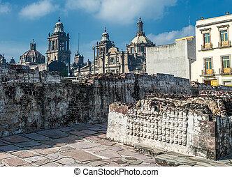 Templo, alcalde, histórico, centro, México,...
