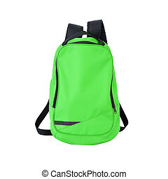 Green backpack isolated with path - A high-resolution image...