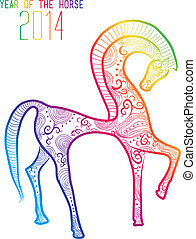 Multicolor Chinese New Year of horse 2014 isolated - Chinese...