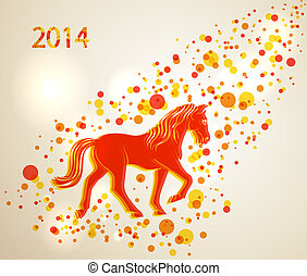 Multicolor Chinese New Year of horse 2014 background -...