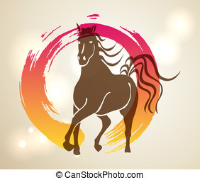 Multicolor Chinese New Year of horse 2014 Zen background -...