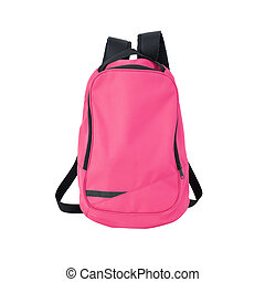 Pink backpack isolated with path - A high-resolution image...