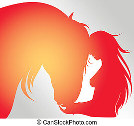 horse vector - horse in motion, abstract illustration