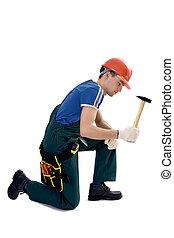 macho, construcción, trabajador, mono