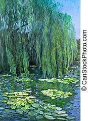 Weeping Willow tree and Water Lilies - A pond reflects a...