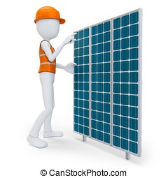 3d man worker with solar panel on white background