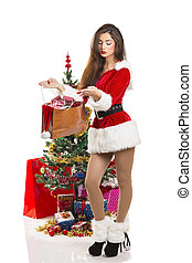 Christmas joy - Attractive sensual young lady dressed in...