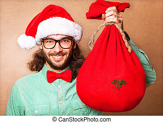 Santa Claus with the bag of the presents