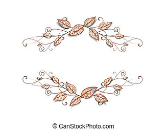 decorative frame - Decorative frame with leaves on white...