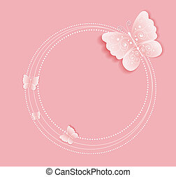 butterfly frame - Pink background with butterflies on the...
