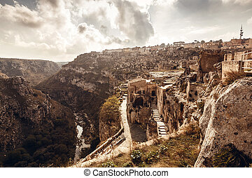 Ancient city Matera in Italy - Sassi the historic center of...