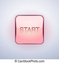 Glossy Glass START Button. Vector Illustration.