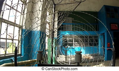 Barbed wire for fencing criminals in the prison