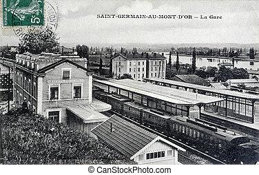 cartão postal, estação, antigas,  saint-germain-au-mont-d'or