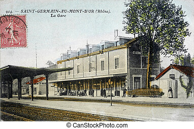 old, postcard, Saint-Germain-au-Mont-D'Or, station
