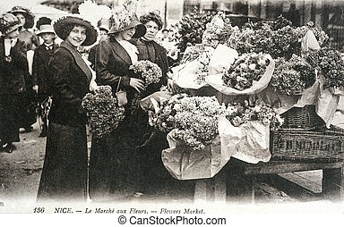 old postcard of Nice, flowers market...