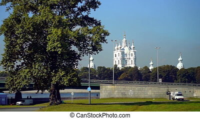 Summer view on Smolny Cathedral, Saint Petersburg, Russia -...