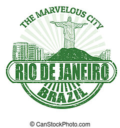 Rio de Janeiro The Marvelous City stamp - Grunge rubber...