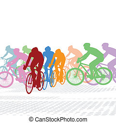 Group of cyclist in the bicycle race on white, vector...