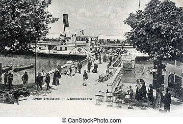 old postcard of Evian, the pier...