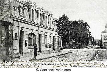 old postcard of Nogent-les-Vierges, post office