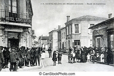 old postcard of Sainte-Helene-de-Gironde, road of Castelnau...