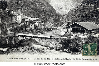 old postcard of Saint-Sauveur, Valley Tin?e, bridge of Roure...